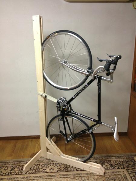 自転車の 自転車 壁掛け 縦 : 自転車 縦置きスタンド 自作 DIY ...